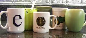 My mugs...aside from the ones that came with 2 place setting sets my hubby bought before we were married.