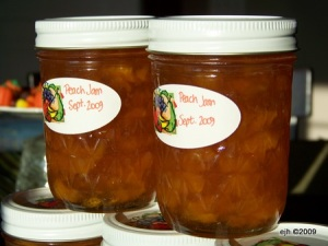 Part of my 11 jars of peach jam.